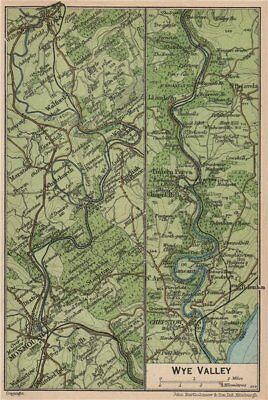 WYE VALLEY. Vintage map plan. Ross-on-Wye Monmouth Chepstow Tintern. Wales 1936