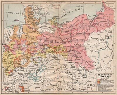 GROWTH OF PRUSSIA FROM 1815. Acquisitions William I II. Losses 1917 old map