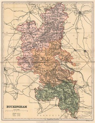 BUCKINGHAMSHIRE. Antique county map 1893 old vintage plan chart