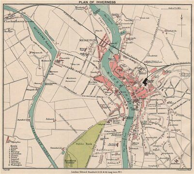 INVERNESS. Vintage town city plan. Scotland. STANFORD 1905 old antique map