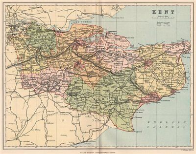 KENT. Antique county map 1893 old vintage plan chart