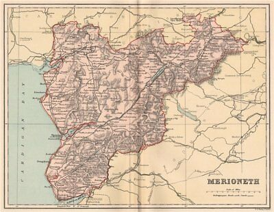MERIONETHSHIRE. Antique county map. Wales 1893 old plan chart