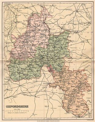 OXFORDSHIRE. Antique county map 1893 old vintage plan chart
