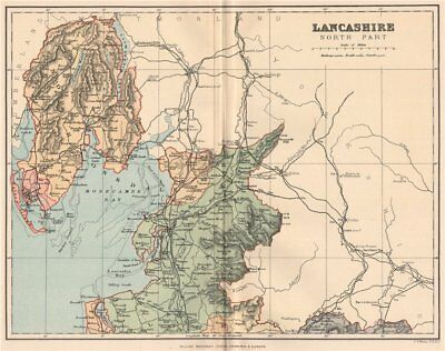 Responsible Lancashire South Part Art Prints Antique County Map 1893 Old Plan Chart
