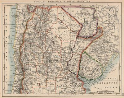 URUGUAY PARAGUAY NORTH ARGENTINA.Pre-Chaco War borders.Chile.JOHNSTON 1906 map
