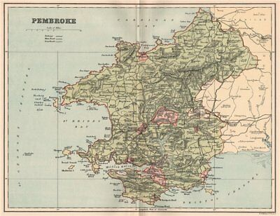 PEMBROKESHIRE. Antique county map. Wales 1893 old plan chart