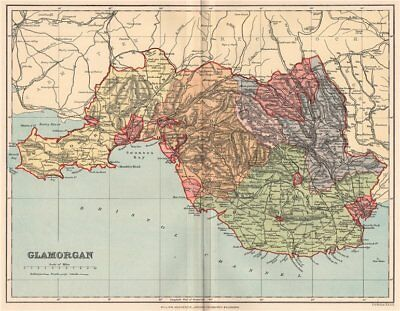 GLAMORGANSHIRE. Antique county map. Wales 1893 old plan chart