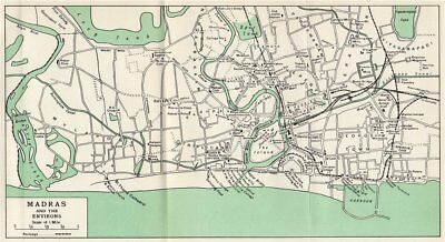MADRAS/CHENNAI. Town city plan. Showing key buildings. India 1965 old map