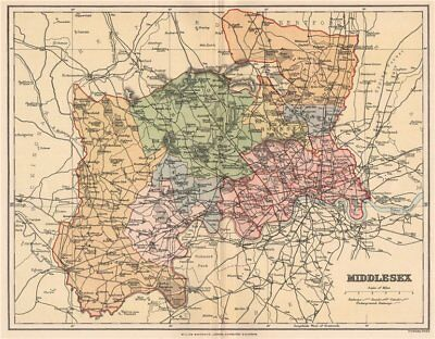 MIDDLESEX. Antique county map 1893 old vintage plan chart