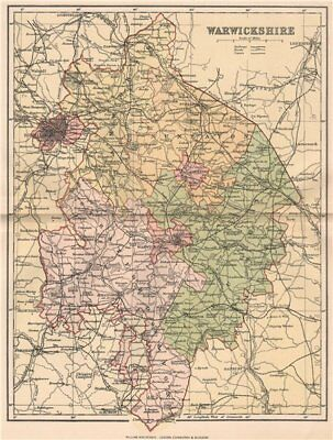 WARWICKSHIRE. Antique county map 1893 old vintage plan chart