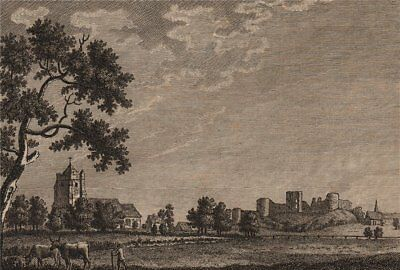 PEVENSEY CASTLE, Sussex. Plate 2. GROSE 1776 old antique vintage print picture