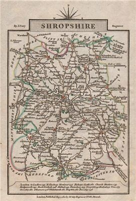SHROPSHIRE by John CARY. Miniature antique county map. Original colour 1812