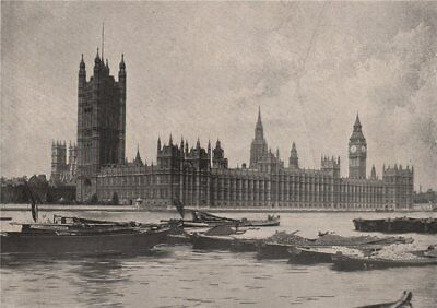The Houses of Parliament. London 1896 old antique vintage print picture