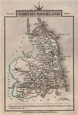 NORTHUMBERLAND by John CARY. Miniature antique county map 1812 old