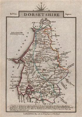 DORSETSHIRE by John CARY. Miniature antique county map. Original colour 1812