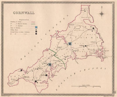 CORNWALL antique county map by CREIGHTON/WALKER. Electoral 1835 old