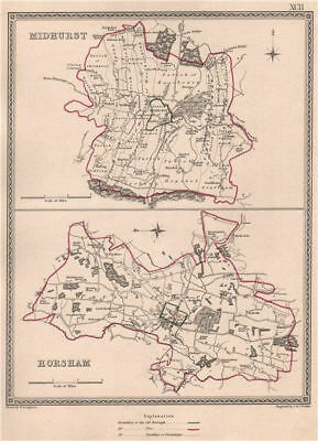 SUSSEX TOWNS. Midhurst Horsham borough plans. CREIGHTON/WALKER 1835 old map