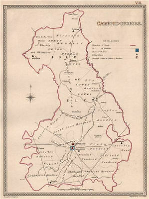 CAMBRIDGESHIRE antique county map by CREIGHTON/WALKER. Electoral 1835 old