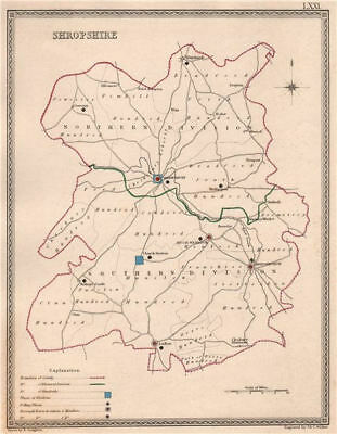 SHROPSHIRE antique county map by CREIGHTON/WALKER. Electoral 1835 old