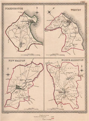 N YORKSHIRE TOWNS. ScarWhitby New Malton Northallerton. CREIGHTON 1835 old map