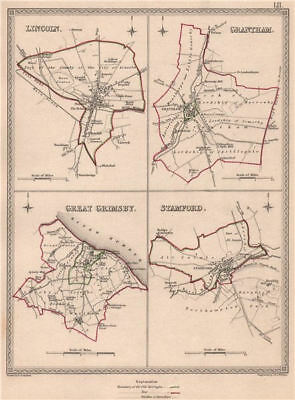 LINCOLNSHIRE TOWNS. Lincoln Grantham Grimsby Stamford.CREIGHTON/WALKER 1835 map