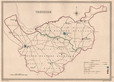 CHESHIRE antique county map by CREIGHTON/WALKER. Electoral 1835 old
