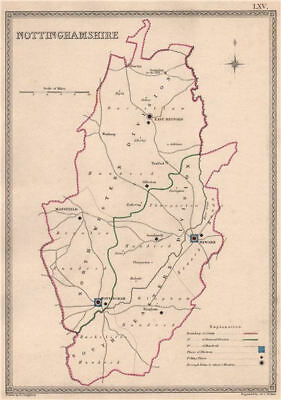 NOTTINGHAMSHIRE antique county map by CREIGHTON/WALKER. Electoral 1835 old