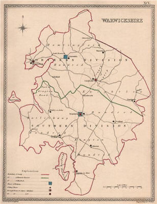 WARWICKSHIRE antique county map by CREIGHTON/WALKER. Electoral 1835 old