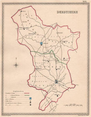 DERBYSHIRE antique county map by CREIGHTON/WALKER. Electoral 1835 old