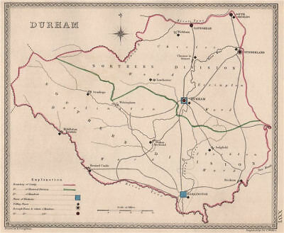 COUNTY DURHAM antique county map by CREIGHTON/WALKER. Electoral 1835 old
