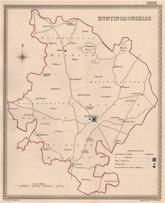 HUNTINGDONSHIRE antique county map by CREIGHTON/WALKER. Electoral 1835 old
