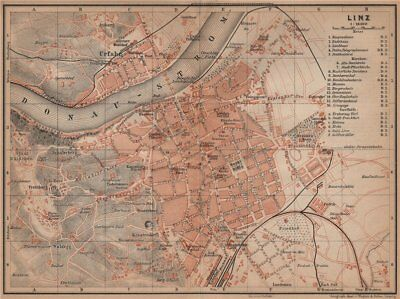 LINZ antique town city plan stadtplan. Austria Österreich karte 1905 old map