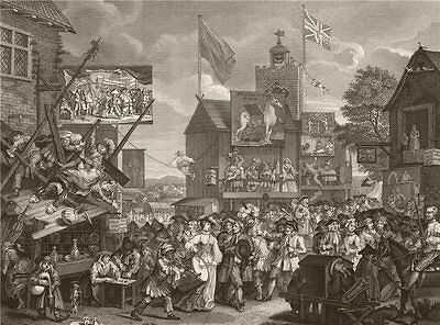 'Southwark Fair'. After William HOGARTH' 1833 old antique print picture
