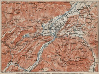 BAD REICHENHALL environs. Germany Deutschland karte. BAEDEKER 1911 old map