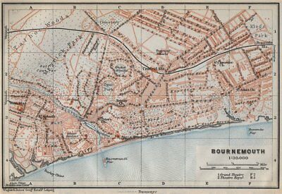 BOURNEMOUTH antique town city plan. West Cliff. Dorset. BAEDEKER 1910 old map