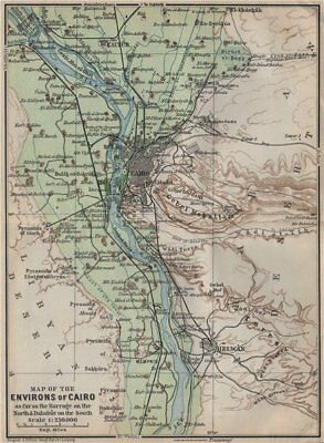 NILE VALLEY / CAIRO ENVIRONS. Memphs Helwan. Egypt. BAEDEKER 1911 old map