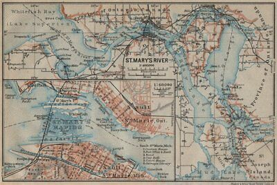 ST MARYS RIVER/RAPIDS. Sault-Ste-Marie town plan. Michigan/Ontario 1922 map