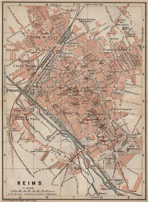 REIMS antique town city plan de la ville. Marne carte. BAEDEKER 1905 old map