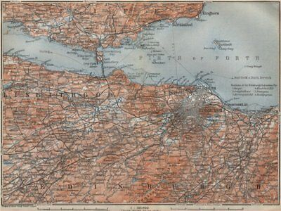 EDINBURGH ENVIRONS. Firth of Forth. Fife Leith Dunfermline. Scotland 1910 map