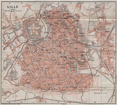LILLE antique town city plan de la ville. Nord. France carte. BAEDEKER 1910 map