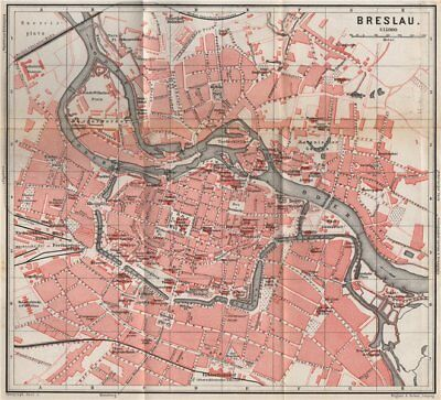 BRESLAU WROC?AW antique town city plan miasta I. Wroclaw. Poland mapa 1886