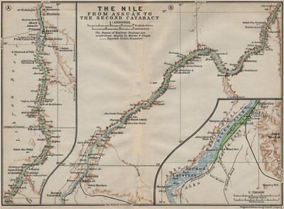 NILE RIVER VALLEY Aswan-Wadi Halfa/2nd cataract Pre-Lake Nasser. Egypt 1914 map