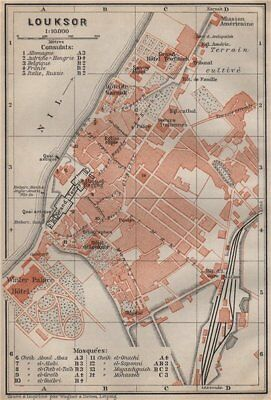 LUXOR antique town city plan. Egypt. BAEDEKER 1914 old map chart