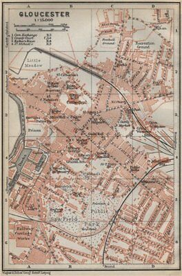 Baedeker 1910 Map Hereford Antique Town City Plan Herefordshire Broomy Hill
