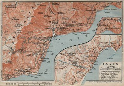YALTA town city plan & environs. Hurzuf Koreiz Nikita Ialta. Crimea 1911 map