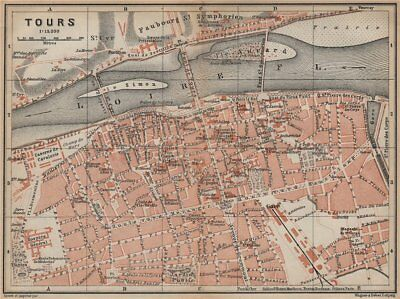 TOURS antique town city plan de la ville. Indre-et-Loire carte 1905 old map