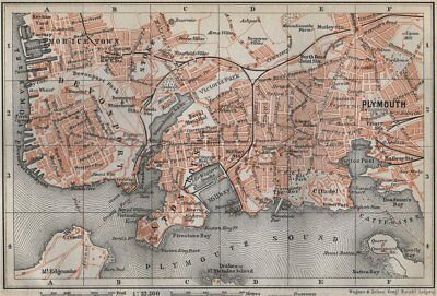 PLYMOUTH town city plan. Stonehouse Stoke Devonport Morice Town 1910 old map
