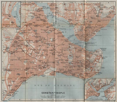 CONSTANTINOPLE / ISTANBUL town city plan. Galata Golden Horn. Turkey 1911 map