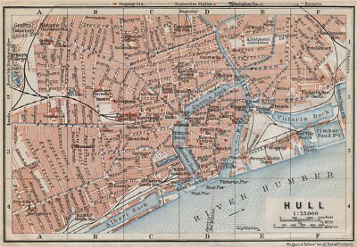 KINGSTON-UPON-HULL antique town city centre plan. Yorkshire. BAEDEKER 1910 map
