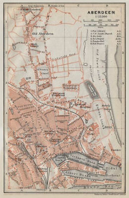 ABERDEEN antique town city plan. Docks. Scotland. BAEDEKER 1910 old map